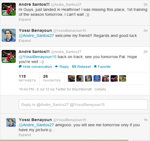 forever-arsenal:  Someone hasn't told Santos that Yossi left Arsenal