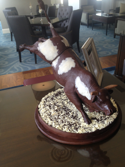 Chocolate bull sculpture at the Fairmont Palliser in Calgary, Alberta in celebration of The Calgary Stampede