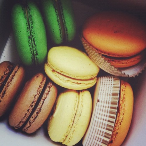 #squaready trying chocolate, lemon, pistachio, and pumpkin macarons for our #wedding  (Taken with Instagram)