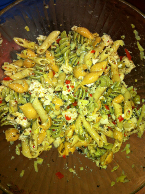 Pasta Salad   12 ounces of garden delight trio Italiano noodles  16 ounces of house Italian dressing  4.5 ounce can of chopped black olives 14 ounce can of artichoke hearts sliced  5 ounces of sliced olive salad  A whole lot of Parmesan cheese   Boil the noodles.   Then combine and refrigerate! It was good!!!