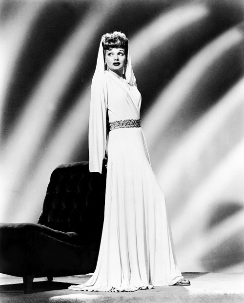 Lucille Ball posing in a gown from Lover Come Back, 1946