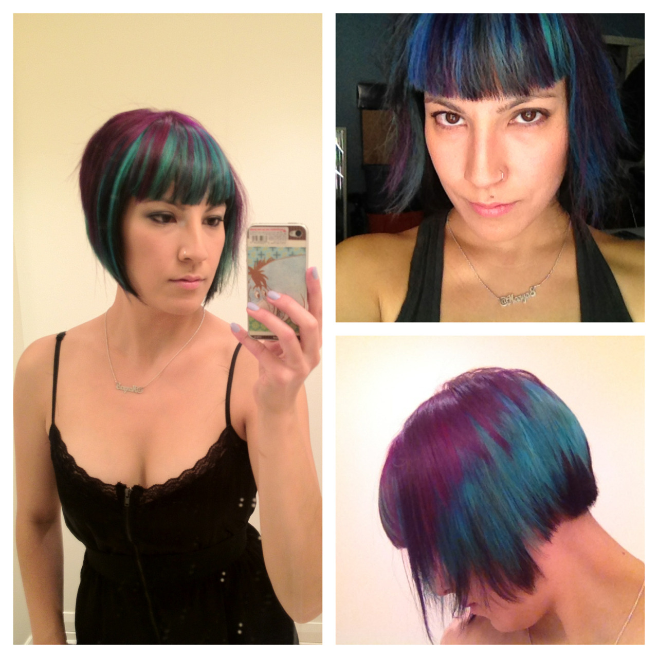 New hair. Aqua blue with black lowlights, and purple highlights.