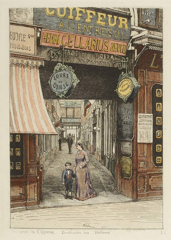 BibliOdyssey: Hand-colored etchings of 1870s street scenes in Paris by A.-P Martial