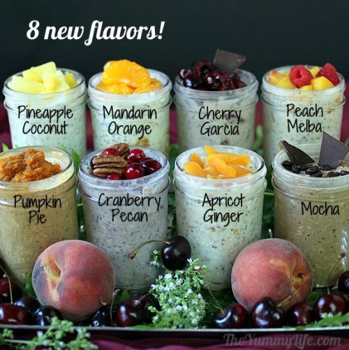 truebluemeandyou:  DIY Refrigerator Overnight No Cook Oatmeal Recipes from The Yummy Life Now with Fourteen Flavors. The Yummy Life has added eight new oatmeal flavors to the wildly successful original six. All recipes have accompanying nutritional data posted and detailed instructions on how to make each variety.