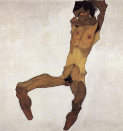 """Seated Male Nude"", 1910  By: EGON SCHIELE…. *Probably one of my ""favorite"" paintings by him…."