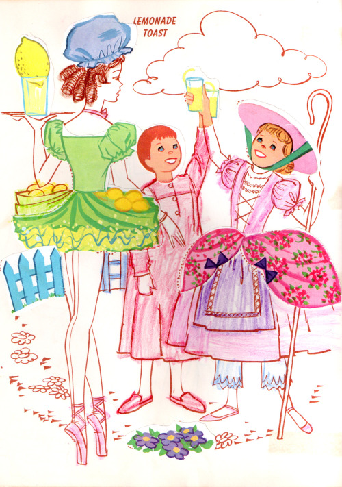 "jumbledplanet:  Lemonade Toast from the ""Babes in Toyland Sticker Fun"" book. Walt Disney, 1961.  From the personal collection of Jumbled Planet."