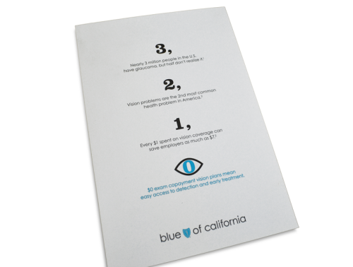 Vision benefits brochure and postcard created with Blue Shield of CA (2010).