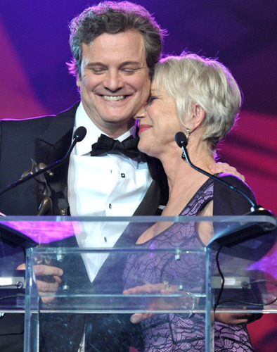 Colin Firth being adorable accepting an award from Helen Mirren (awesome) or giving awards to Meryl Streep (also awesome).