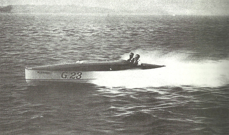 Louisa, the Purdys' last Gold Cup racer, with Bob Purdy at the wheel