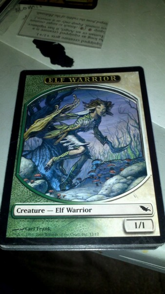 Green white elf token