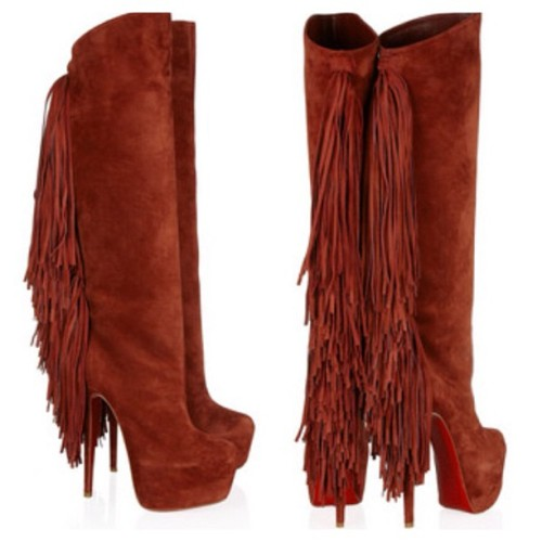 Interlopa 165 fringed suede knee boots by Christian Louboutin (Taken with Instagram)