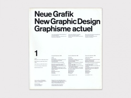 Neue Grafik, New Graphic Design, Graphisme Actuel, No. 1, September 1958