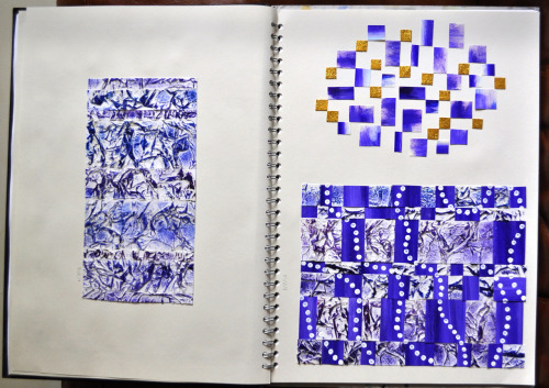 "Some experiments from my sketchbook. The initial experiment consisted of scrunching up paper, applying paint and then attempting to turn it into an interesting pattern. But it didn't turn out to my liking so I cut it up into pieces and composed it differently to try and make it better. Unfortunatly these turned out to be failures too. ^^"" Oh well, I'll find a use for this technique another time. ;)"
