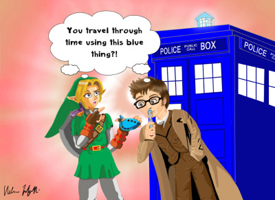 "ubermidget:   Title: Link meets Dr Who Alternatively: ""Does the colour Blue have anything to do with Time Travel?"""