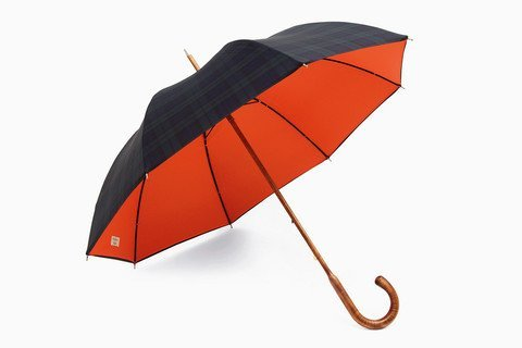 A Continuous Lean Shop - Black Watch Plaid and Orange Unbrella(via Fancy)