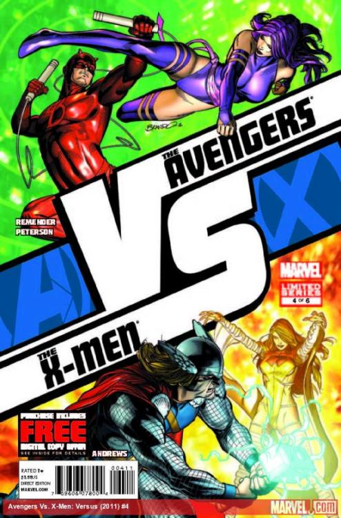 So this Wednesday we'll have Psylocke vs. Daredevil and Emma vs. Iron Man! I'm pretty excited! Who's your money on? (I know Thor is on the cover, but Marvel's website says its Emma and Tony. So I don't know.)