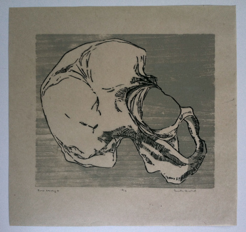 Emily Diehl, Bone Study II   -  2009 Two color woodcut