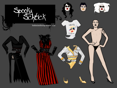 Spooky Schtick Set by hedonismbooop inspired by the Sharon Needles outfits from episode 3 season 4 of Rupaul's Drag Race. (e1 - Nosferatutu) (e2 - Vain Selfish Creatures of Beauty)
