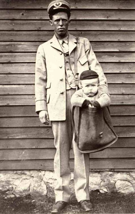 "weirdvintage:  Sending a child through the post, 1900 ""After parcel post service was introduced, at least two children were sent by the service. With stamps attached to their clothing, the children rode with railway and city carriers to their destination. The Postmaster General quickly issued a regulation forbidding the sending of children in the mail after hearing of those examples."" - Smithsonian"