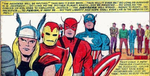 Avengers line-up from Avengers # 8, Kang the Conqueror! 1964.