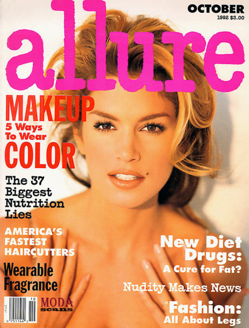90s models > nowadays models. Cindy Crawford's cover for Allure US, October 1992, photographed by Sante D'Orazio.