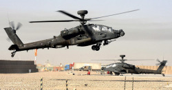 militaryandweapons:  Apache Helicopter Lands at Camp Bastion Airfield, Afghanistan by Defence Images on Flickr.