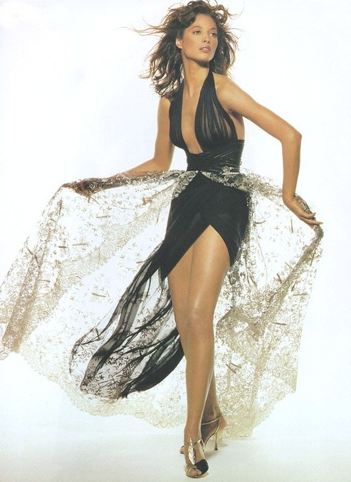 "90s models > nowadays models. Christy Turlington in the ""Paris Couture"" fashion editorial for Vogue."