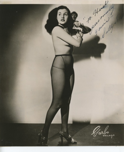 "burleskateer:  burlyqnell:   Signed vintage 50's-era promo photo of Sally Lane (and her Monkey: ""Fifi"").."