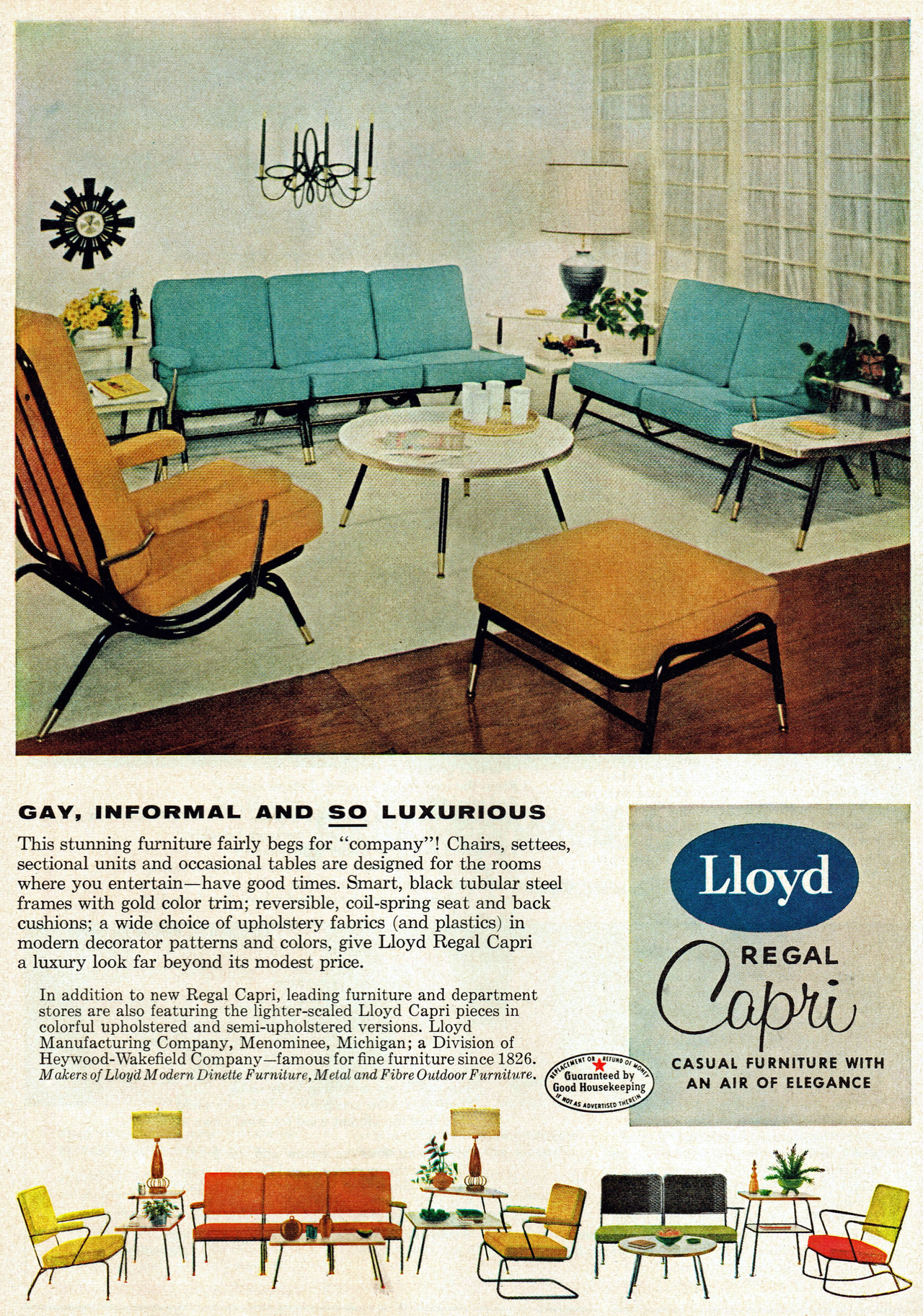 "dtxmcclain:  ""GAY, INFORMAL AND SO LUXURIOUS"" Lloyd Regal Capri, 1955 Funny, that's what people say about me."