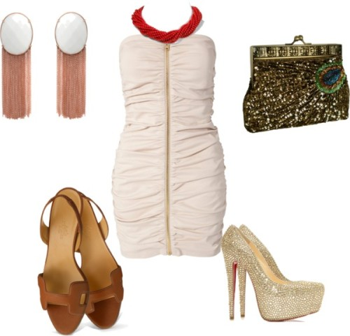 out dancin' by lexanation-1 featuring rose gold jewelryNelly Trend tall dress, $62 / Suede shoes, $5,895 / Hermes mid heels / Evening bags clutch / Rose gold jewelry / Carolee LUX red jewelry