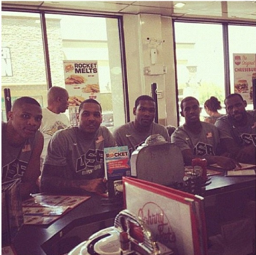 fuckyealebronjames:  Team USA @ Johnny Rockets