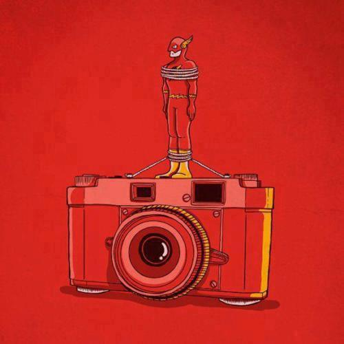 Camera with Flash. I wish I knew the artist.  I love this.