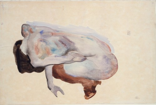 artpedia:  Egon Schiele - Crouching Nude in Shoes and Black Stockings, Back View, 1912. Watercolor, gouache and graphite on paper  nemtudommegunni.