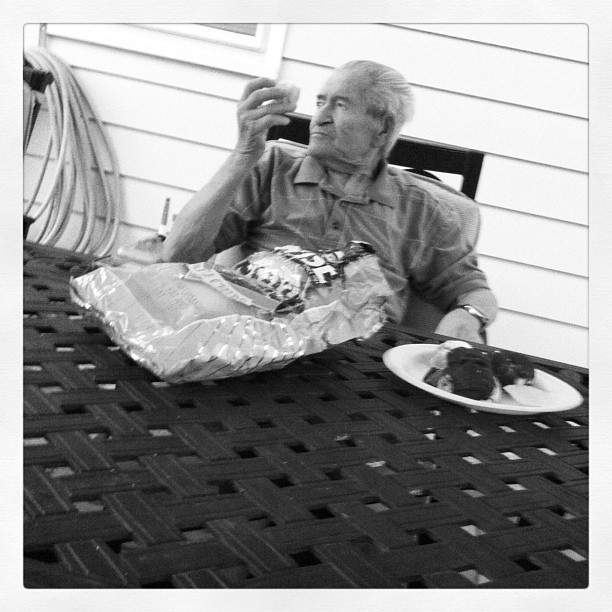 Finally getting some fatty foods in Grampy. #DTS #grandpa #papa #nono #love #gramps #chips #pastries #italian #italiano #jersey #shore #downtheshore #family #lagoon #backyard #umbrella #fat #junk #old #life #stuckintime  (Taken with Instagram)