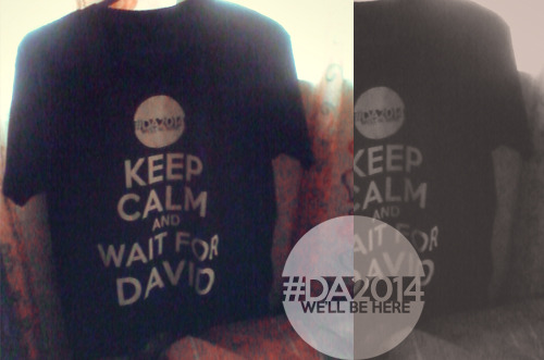 "Show them you are willing to KEEP CALM and WAIT FOR DAVID! Simply reblog/like this post to win the shirt! The winner will be drawn on July 15, 2012 this coming Sunday (Josh Bradley's birthday!). I will send the winner a message. Note: For fans in the Philippines only. (Can't afford the shipping fee to other countries! haha! XD) This is for the fans who are patiently waiting for David Archie. I will try my best to give away as many shirt as I could!  Just ONE favor from you guys though.. PLEASE CONTINUE VOTING FOR ""I'LL NEVER GO""  by DAVID ARCHULETA @ MYX PHILIPPINES! VOTE HERE!  If you have any question, suggestions, and comments regarding the raffle let me know! This will run for 2 years while David is on his mission! So help me improve it as days pass by! [Click here]"