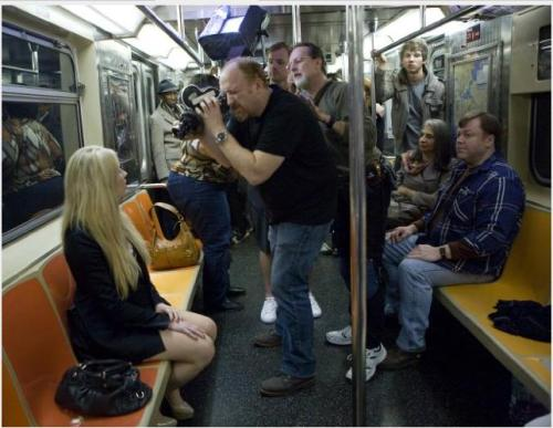 jakemoore:  louis ck shooting the subway ep on honest-to-god 16mm film w an arriflex 16S