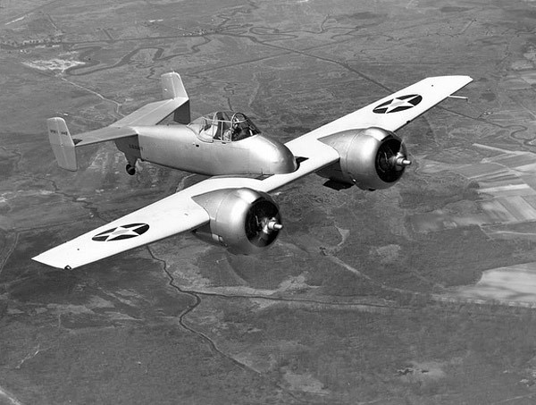 Grumman XF5F Skyrocket The Grumman XF5F Skyrocket was a prototype twin-engined fighter interceptor designed for carrier use by the U.S. Navy. The Navy ordered just one example in 1938, and two years later it flew for the very first time. The XF5F Skyrocket was unconventional in its design. Mainly because the fuselage began just behind the leading edge of the wing. It almost looks like it's somehow accidentally slipped backwards. This unusual feature, coupled with the fact the there was no single, central engine meant the pilot had extremely good forward vision. Which helped immensely when maneuvering on the carrier deck. (more)