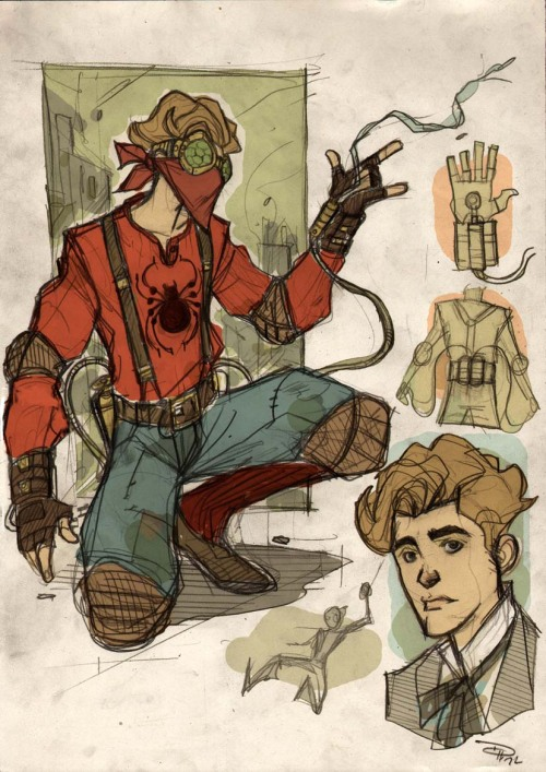 Spider-man Steampunk Re-Design by Denis Medri  (Thanks to Comic Vine for introducing me to this artist's work.)