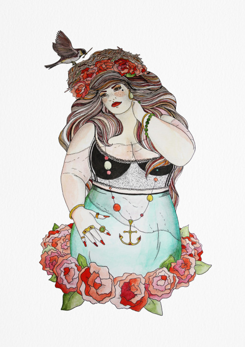 sparrowandthefox:  Lady Sparrow Done with Pen and water colour.