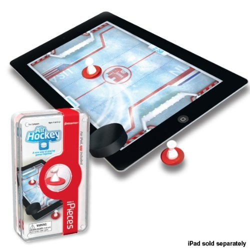 iPieces Air Hockey Game  Experience the fast-paced thrills of Air Hockey. For the first time, players can hit the animated hockey puck with the iPieces hockey strikers. Players can represent a country of their choice to compete in a variety of fun and exciting tournaments when they download the Air Hockey app. Product Features:  Experience the thrill of hitting the puck with the real iPieces strikers on your iPad or iPad 2 Various game possibilities Ages 4 and up Includes: 2 iPieces strikers (magic plastic), download instruction sheet, free download exclusively designed for iPieces (available on the App store).   (vía Amazon)