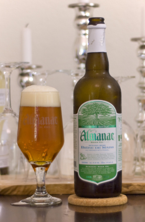 Almanac Beer Co. | Biere de Mars - Spring 2012  An ale brewed with local fennel?! Yeah, I had my suspensions, but was proved wrong - welcomingly. Delicious bitter profile and a party on the back palate. Paired excellent with tonight's slow braised spare ribs.