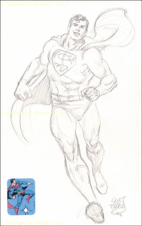 Superman pencil pin-up by Curt Swan from 1991.