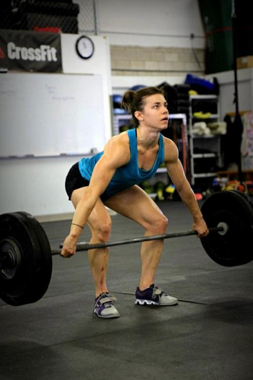 Julie Foucher #crossfit all start, rocking some #deadlifts  I might be crazy but isn't this bad form? I was under the impression that when you deadlift, you should be pointing your toes straight forward and parallel to each other. Someone please correct me if I'm wrong, I don't want to be using bad form when I deadlift!