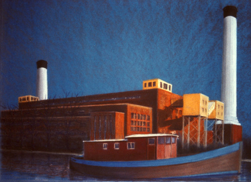 Kingston Power Station, demolished - pastel