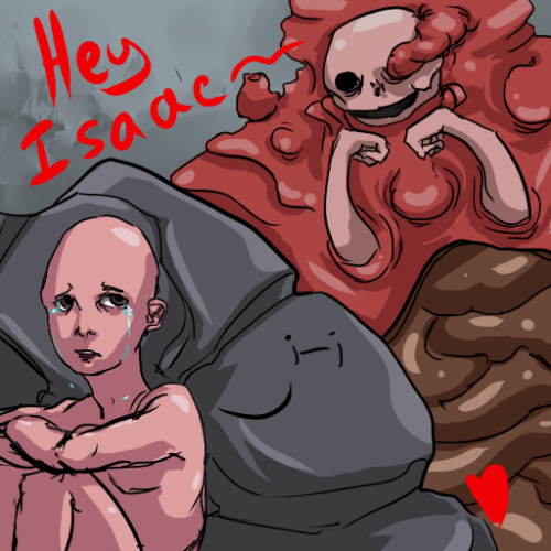 malinteresa:  Bday present for a friend, drawing Binding of Isaac fanart  I have yet to buy the DLC, because I'm on a new compooter I want to beat the game  before I delve into the DLC (Though from what I hear the DLC is amazing).