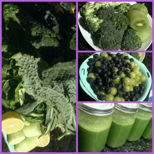 Blues & Greens / Ready for Monday :9 - #kale#chard#celery#broccoli#cucumber#kiwi#grapes#blueberries#lemon. #juicing#greenjuice#meangreen#veggies#fruits#foodporn#juicehead  (Taken with Instagram)