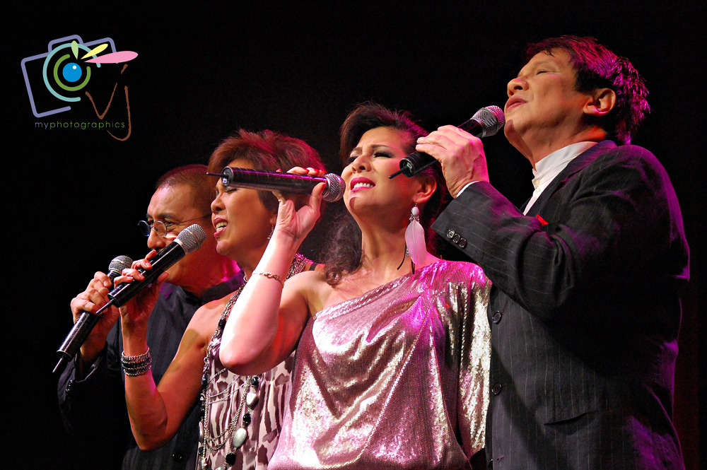 "70s and 80s Relived: A Full Musical Harmony 06 July 2012 | Teatrino   We had a wonderful time listening to the songs we grew up with and to the songs we can sing along with performed by the music icons Eugene Villaluz, Pat Castillo, Ding Mercado and Singing Sweetheart Joey Albert at the '70's and '80s Relived concert. Jacqui Magno didn't make it to the concert because of health reasons.  My best performances were Eugene Villaluz's solo hit ""Gulong ng Palad,"" Ding Mercado's awe-inspiring version of Tom Jones' ""Kiss,"" Pat Castillo's jazz up ""Aso't Pusa"" and Joey Albert's OPM hits ""Tell Me,"" ""Iisa Pa Lamang"" and ""Ikaw Pa Lang ang Mamahalin"" mash up with the classic song ""I'll Be Seeing You."" Other songs they've performed are Love the One You're With, The Way We Were, Can't Take My Eyes of You, See You There, Umagang Kay Ganda, Gathering and medleys like Love Duets Medley, Rick Astley Medley, Carol King Medley, Donna Summer Medley, The 70's Medley and Sergio Mendes Medley. A trip down memory lane. Such an honor to meet Joey Albert backstage, love her being bubbly. More photos by VerJube Photographics HERE."