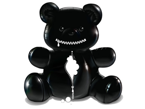 """hug"" By Frederik Wepener - Cool black latex teddy bear illustration"