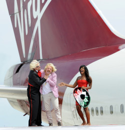 Richard Branson having fun with Keith Lemon and Alexandra Burke at Virgin's Cancun route launch - SeatPlans.com
