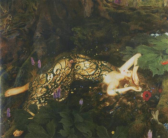 Frank Cadogan Cowper, Titania Sleeps, 1928 on Flickr.  Click image for 700 x 578 size.